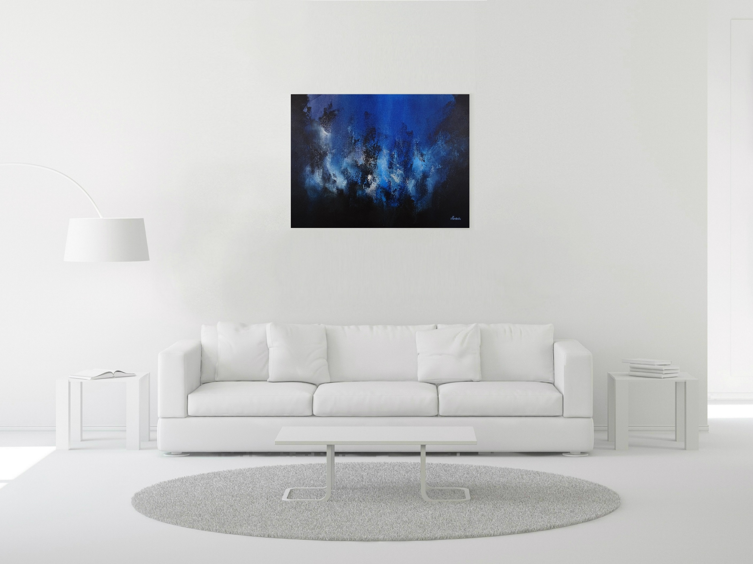 Dark Blue Abstract Painting - Distorted