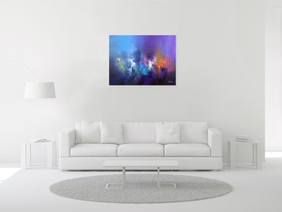 Mysterious Modern Painting Living room Purple and Blue - The Loudest Silence